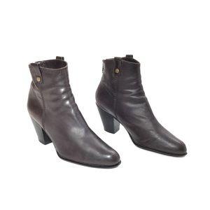 Stuart Weitzman Dark Brown Leather Zip Ankle Boots